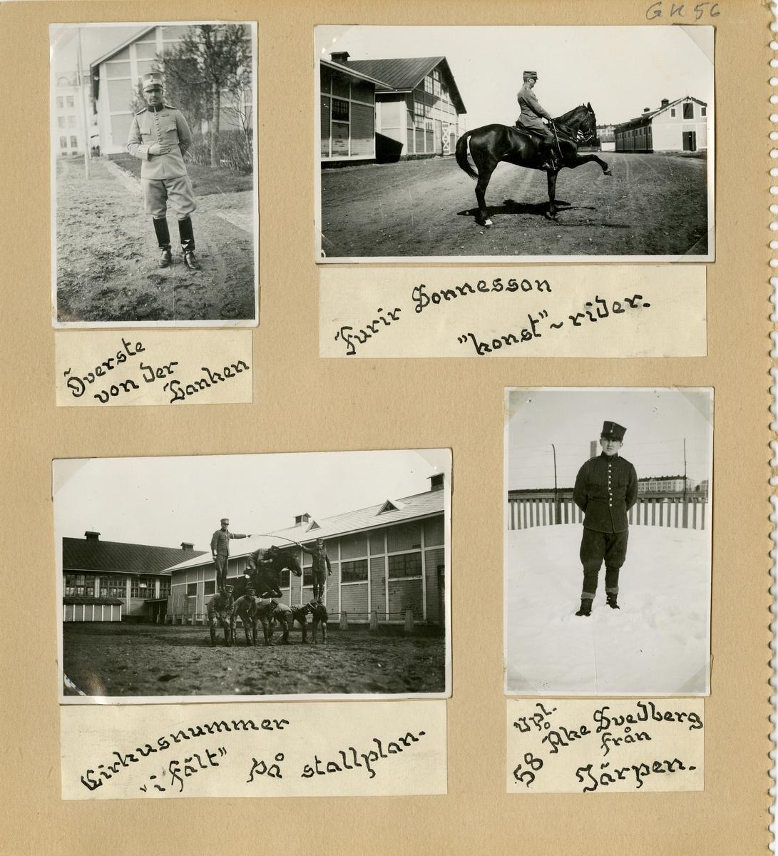 Bilder från värnpliktig nr. 73 Johansson vid Norrlands dragonregemente K 4.