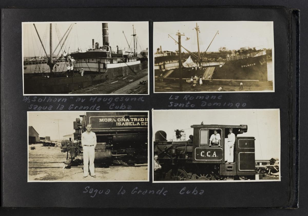 """D/S """"Solhavn"""" av Haugesund Sagua la Grande Cuba (øverst til venstre). La Romane, Santo Domingo (øverst til høyre). Sagua La Grande Cuba (nede til venstre, samme bilde fra først side av album). Sagua La Grande, Cuba (nede til høyre)."""