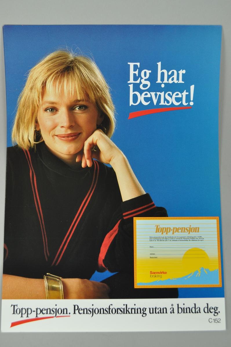 Rektangulærplakat. Motiv dame på blå bakgrunn.
