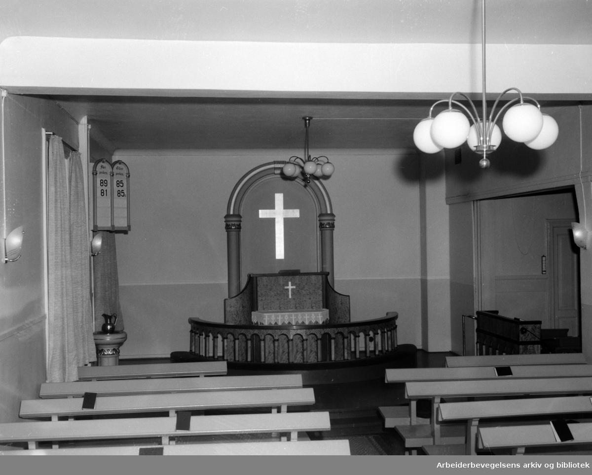 St.Olavs gate 12. Frikirken, Det evangelisk Lutherske kirkesamfunn. Januar 1957