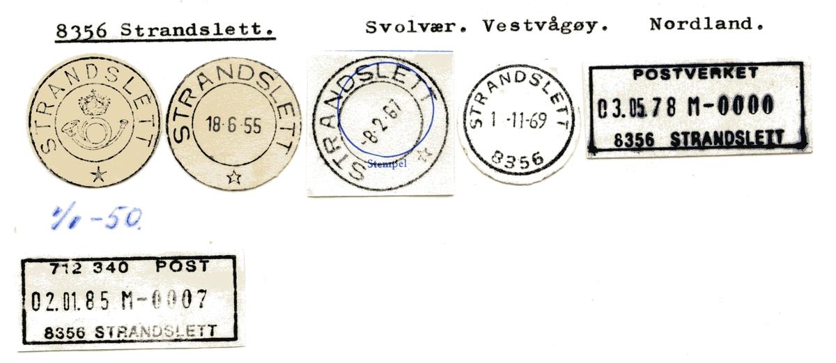 Stempelkatalog 8356 Strandslett, Svolvær, Vestvågøy, Nordland