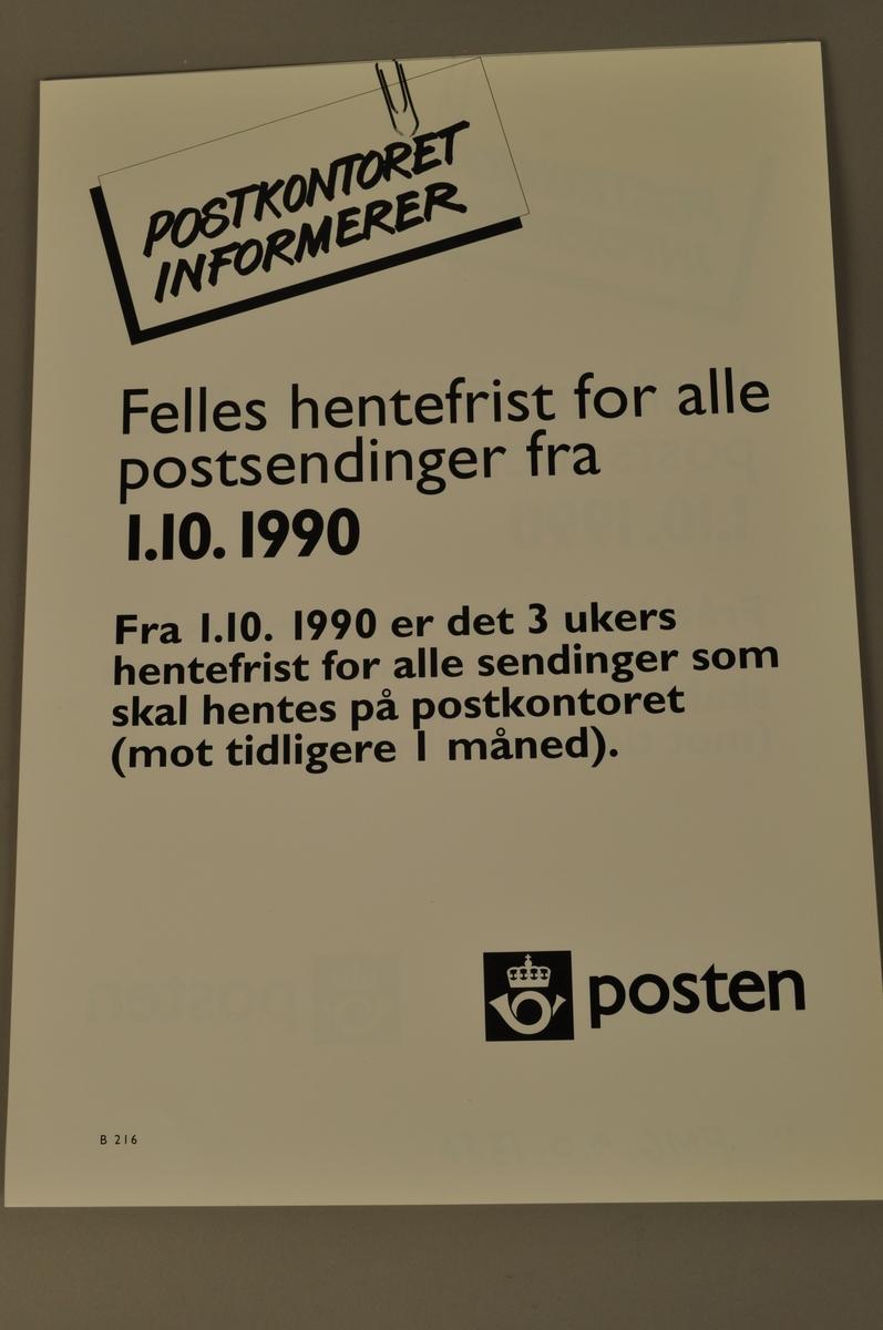 Informasjonsplakat om nye hentefrister for alle postsendinger fra 1.10.1990. Bokmål og nynorsk.