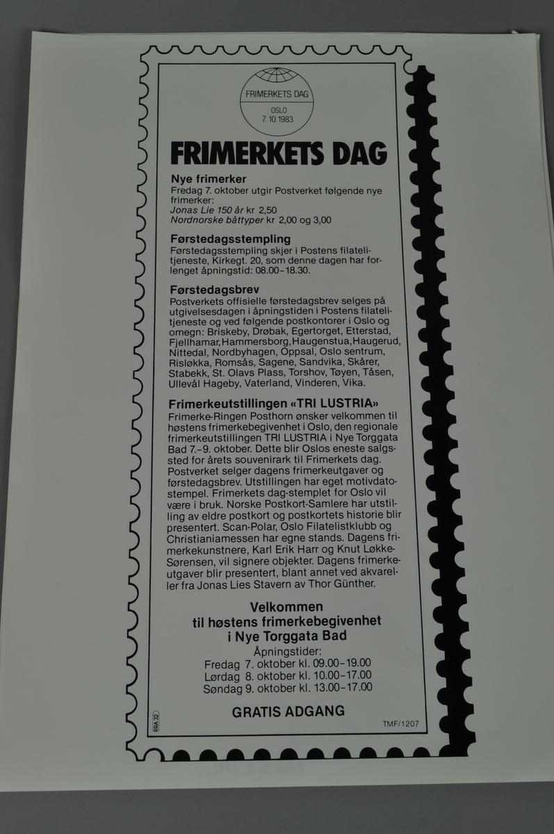 Plakat med tekst, frimerketagget ramme rundt teksten.