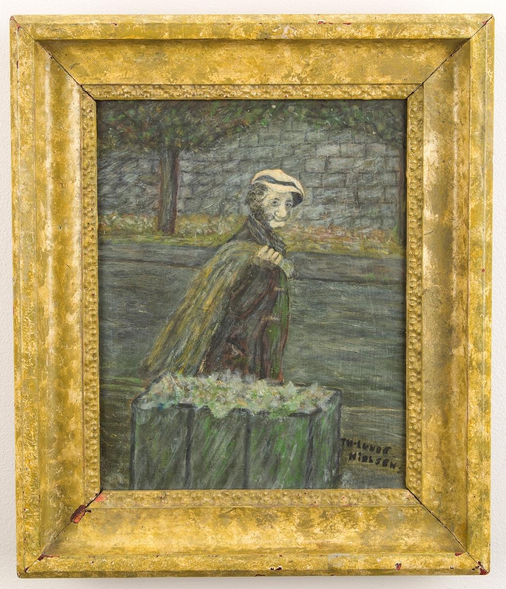"""Person i gatebilde. Skal forestille Fridtjof Kristiansen (""""Luse-Frans f. 1883 i Kristiania, d. 1958 s.s.)"""