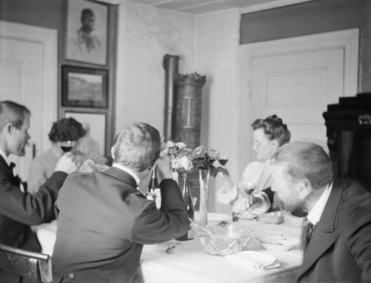 Fem mennesker rundt et bord - selskap