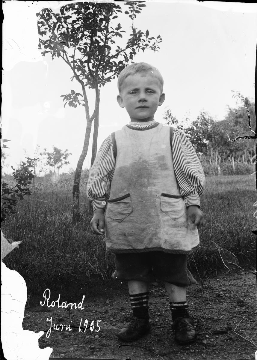Sannolikt Ruben och Christine Liljefors son Roland ute på gården, i Sverige, juni 1905