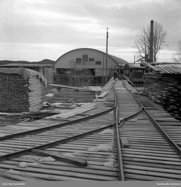 Brädgården vid Lucksta ångsåg. Bilderna tagna i samband med den så kallade muträttegången 1957 i Medelpads västra domsagas häradsrätt, mot bland andra Lucksta ångsåg/Luckstaverkens ägare.