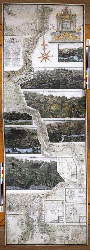 Gammel illustrasjon over Christian 6.'s reiserute på Østlandet, med detaljer fra de ulike besøksstedene uthevet. (Foto/Photo)