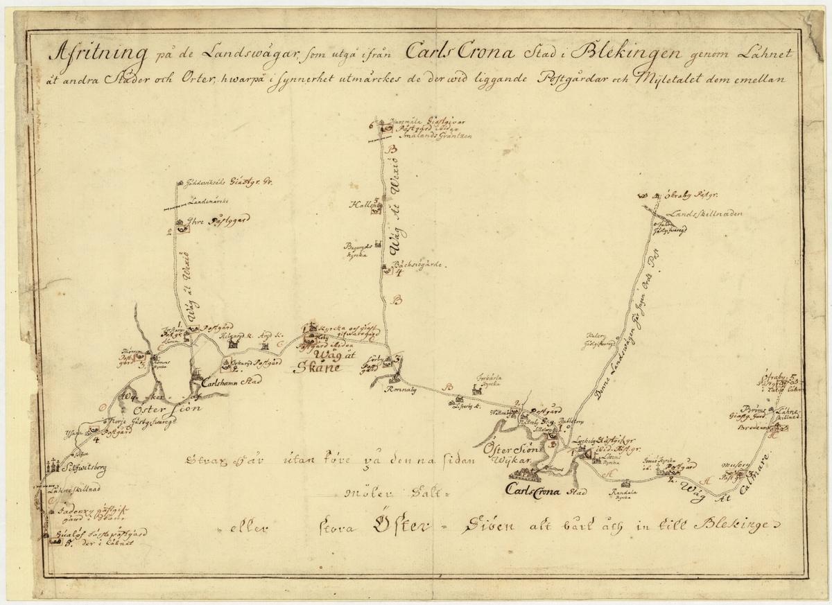 Postkarta som visar postvägar från Karlskrona, Blekinge. På kartan är postgårdar längs vägarna utmärkta, och gårdarnas inbördes avstånd. Till kartan är fogat ett blad med en förteckning över postgårdarna i Blekinge och avståndet dem emellan. Kartan är ritad för hand under mitten av 1700-talet.