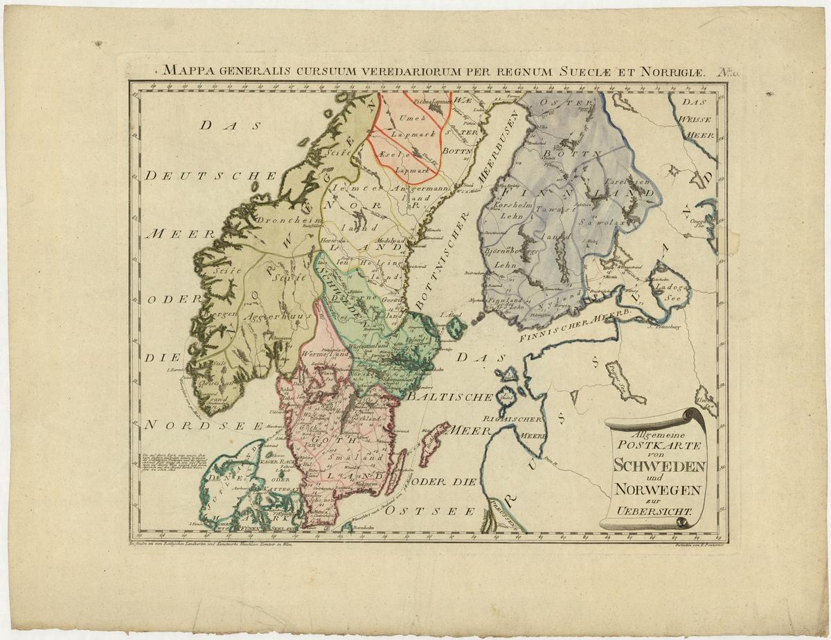 """Postkarta, översiktlig, över Sverige och Norge, från Österrike år 1799. Kartan ingår som nummer 33 i ett större kartverk """"Atlas universae rei veredarae bilinguis imnes cursus publicos"""". Kongressbiblioteket i Washington äger ett exemplar av denna atlas."""