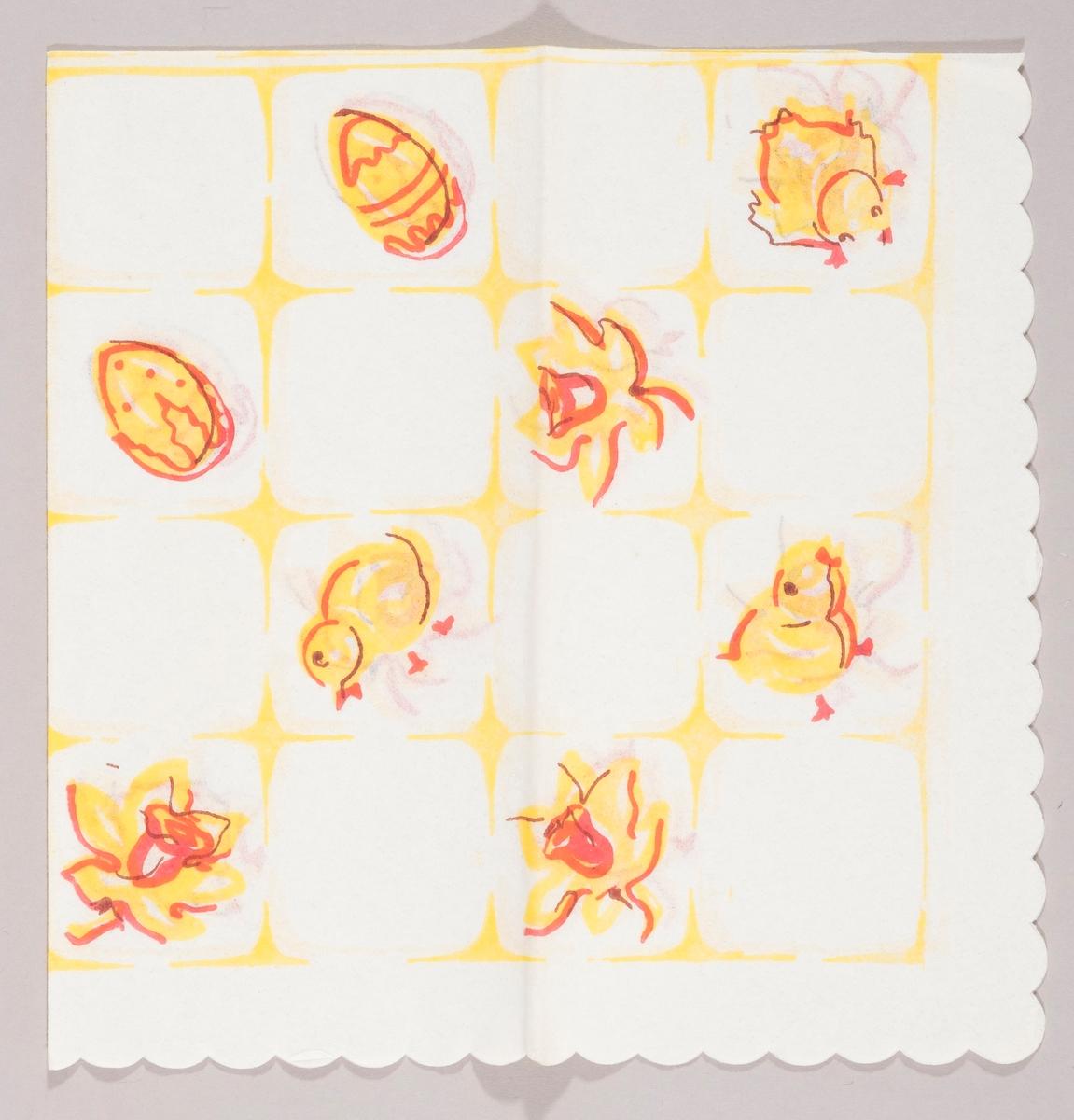 Gule påskekyllinger, gule påskeegg og gule påskeliljer satt inn i et firkantmønster.