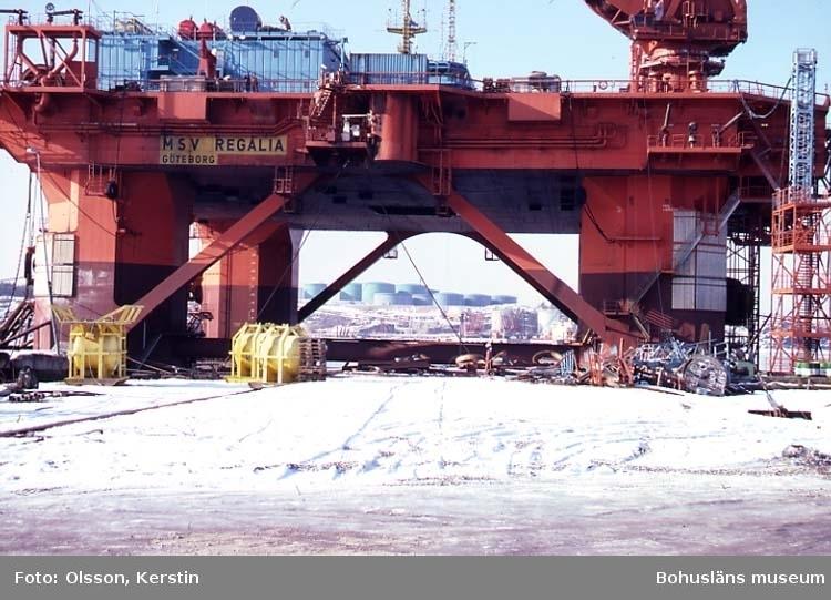 """Text på kortet: """"Lahälla oljeborr plf. Brastad sn. Mars 1987""""."""