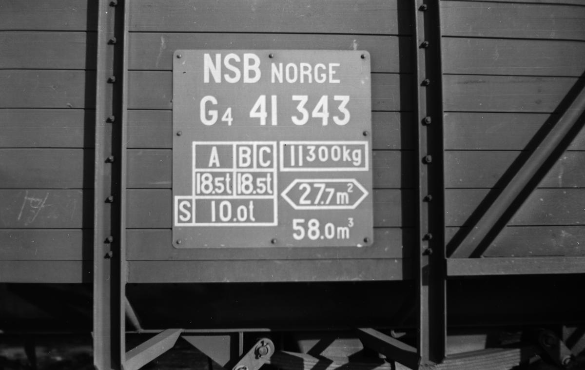 Detalj av normalsporet godsvogn type G4 nr. 41343.