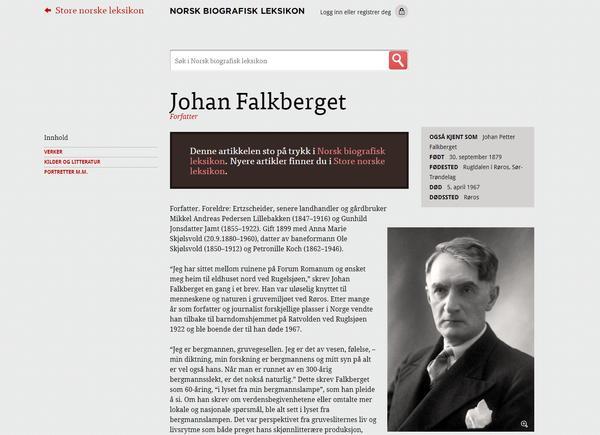 Falkberget - Norsk Biografisk Leksikon. Foto/Photo