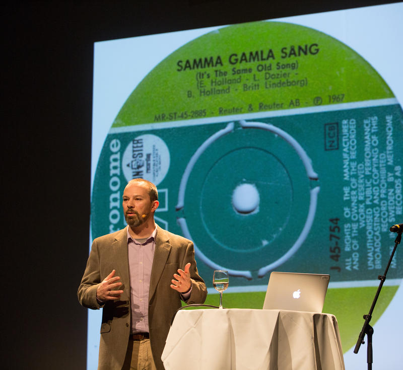 Andrew Flory holder foredrag på Rockheim. Foto: Rockheim/Elise Maalø Reksen. (Foto/Photo)