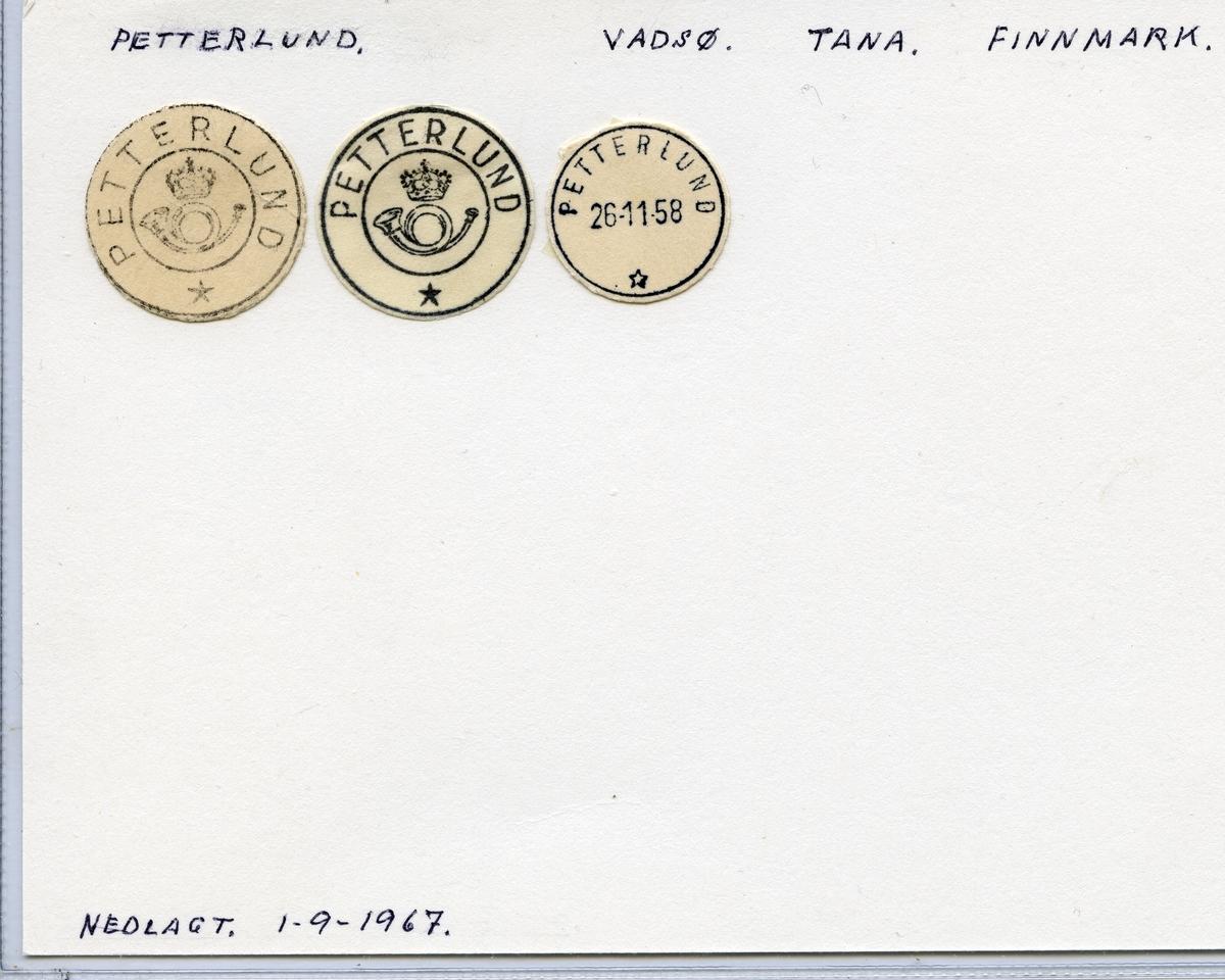 Stempelkatalog Petterlund, Vadsø, Tana, Finnmark