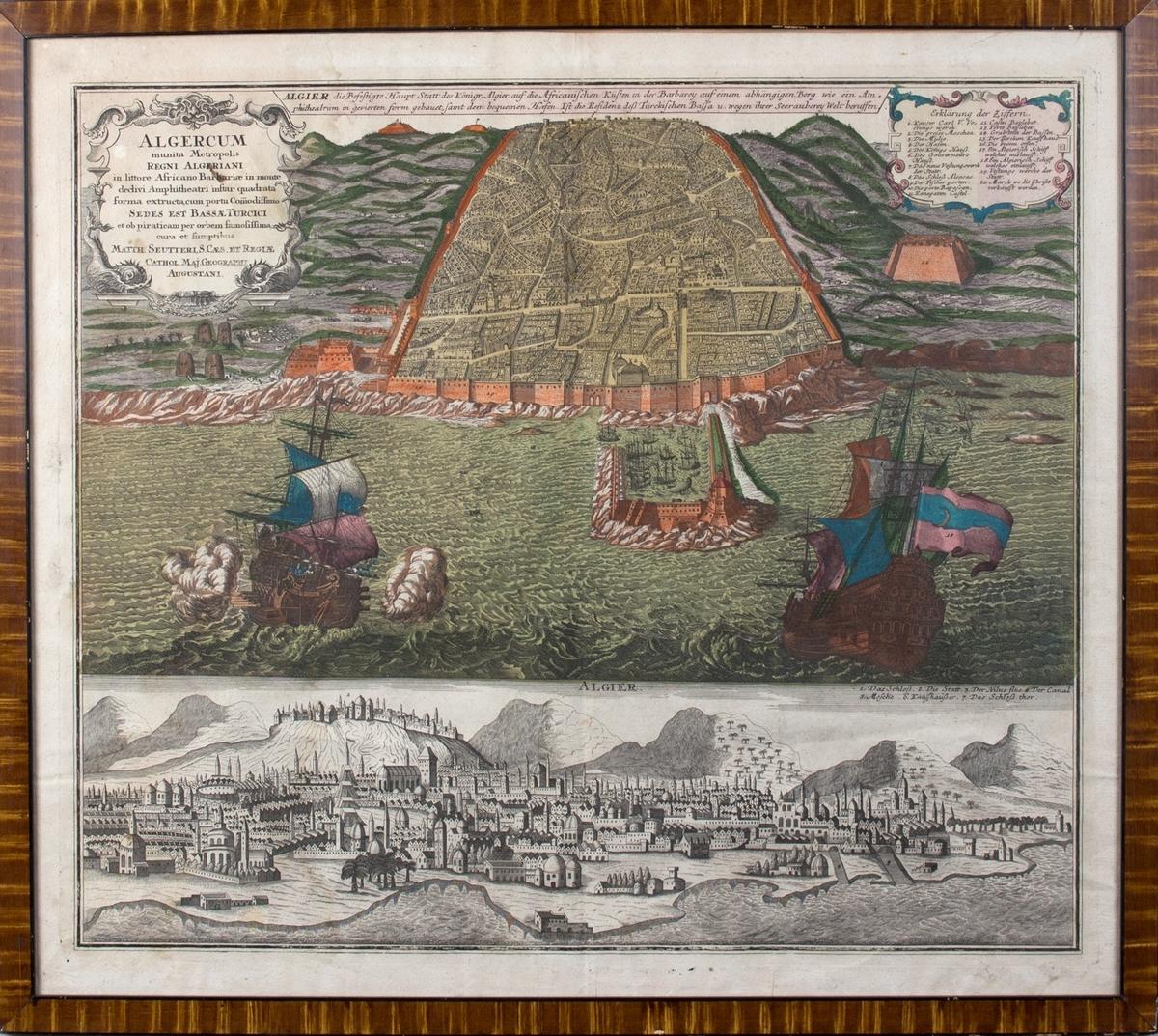 """Prospekt av byen Algier fra sjørøveriets dager.  Kobberstikk """"Algercum munita Metropolis"""" fra ca. 1750. Ser to orlogsfartøy med kanoner samt havnen i Algier omkranset av festningsmur."""