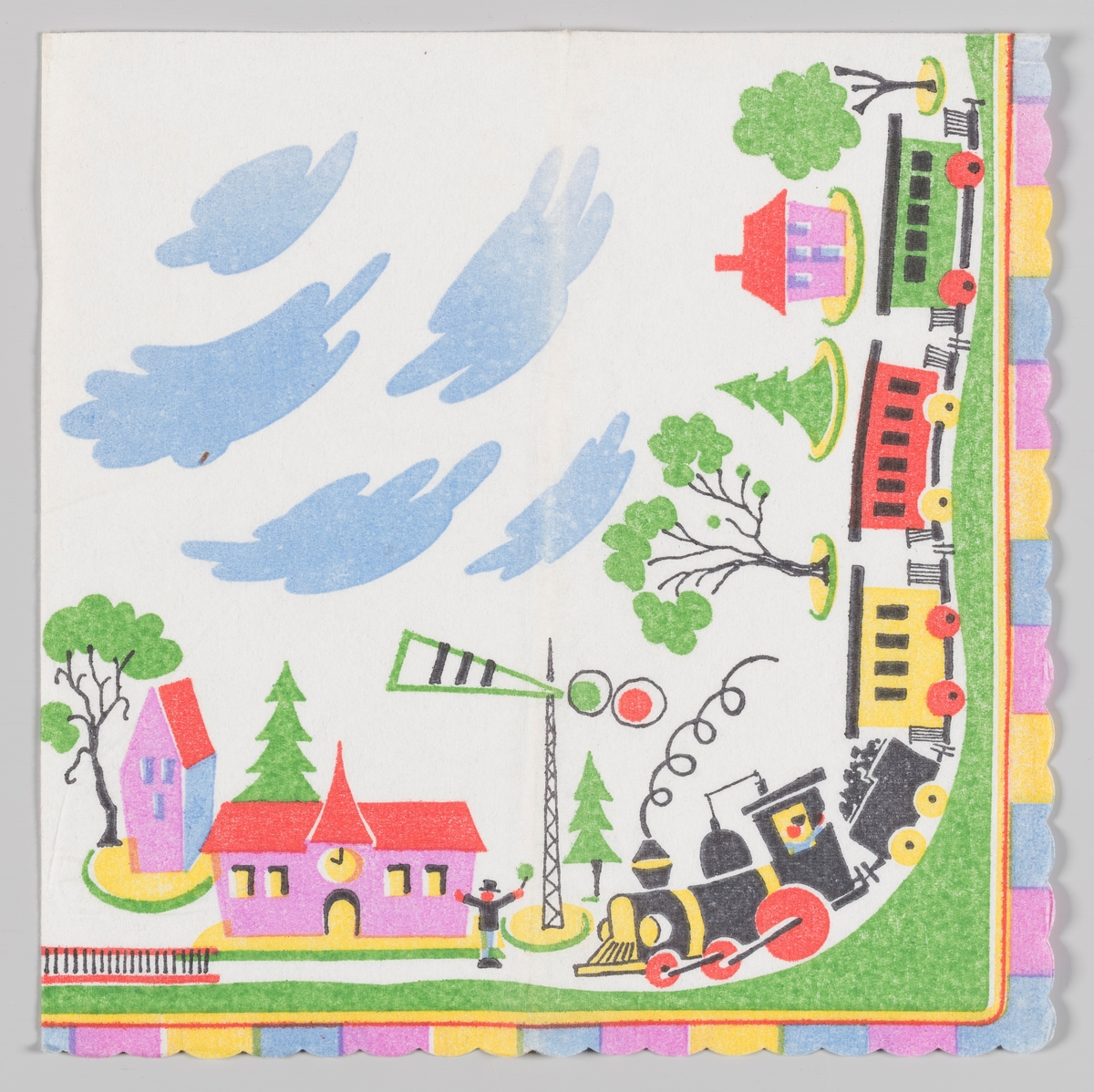 Et lanskap med et leketøytog, hus, trær og blå skyer. langskanten striper i rosa, gult og blått.