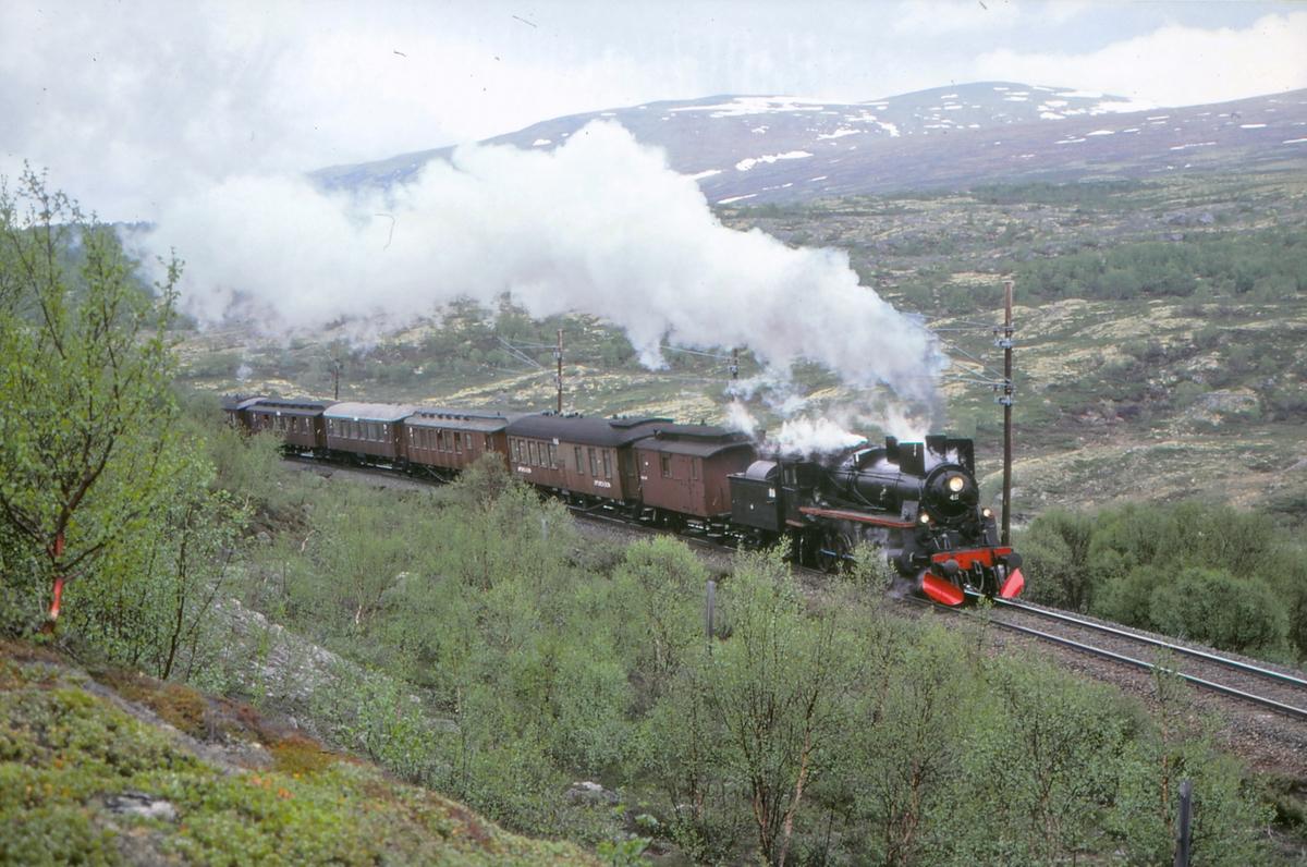 Ekstratog med damplokomotiv 26c 411 mellom Kongsvoll og Hjerkinn på Dovrebanen.