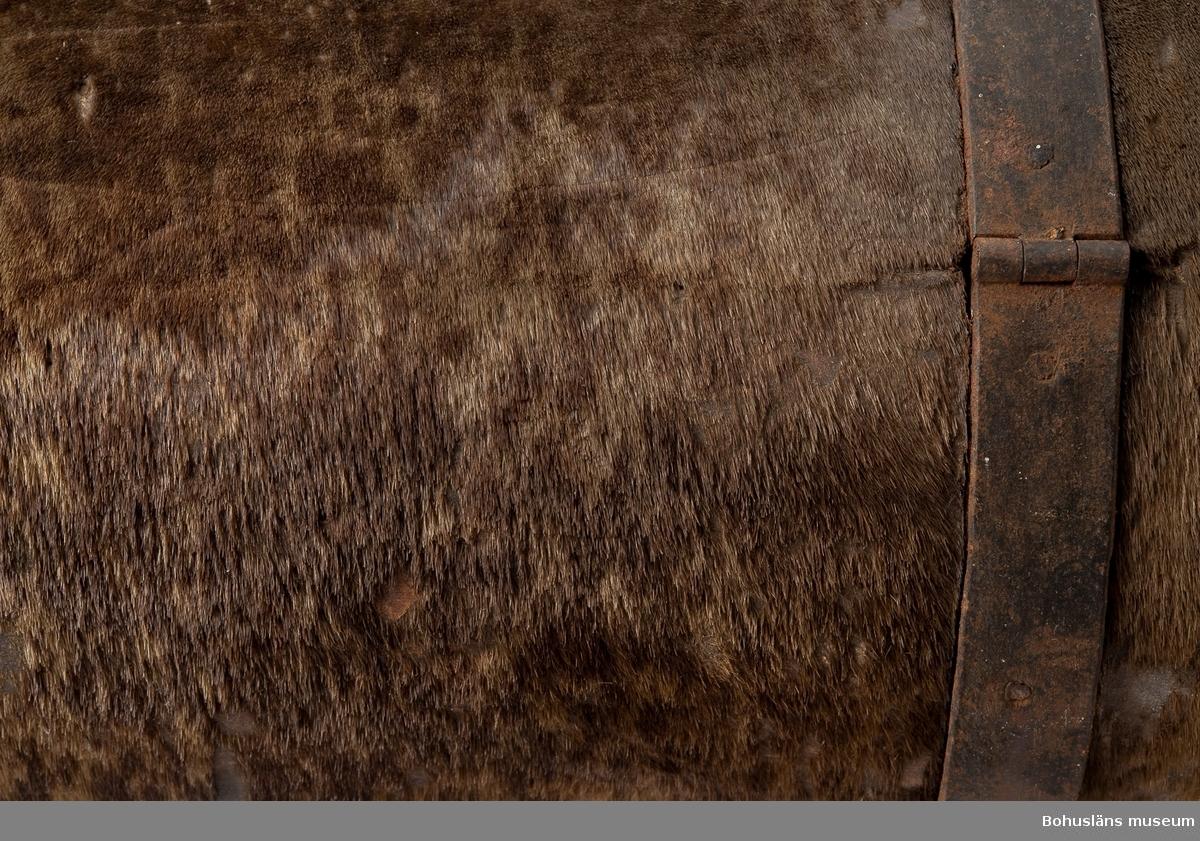 Cylinerformat reseuppbördsskrin av trä, trolgien ek, klätt med skinn/sälskinn och järnbeslaget. Låsbart. En skinnremsa täcker springan runt locket för att hindra väta att komma in. Rester av papperslappar synliga på metallband och skinnremsa på höger sida; texten är oläsbar. Spikar kvar efte att lapp troligen suttit på vänstersidan högst uppe där skinn täcker skrinet. Även synliga lackrester på ovansidan. Skador efter tidigare insektsangrepp. Formen är inspirerad från kistor gjorda av urholkade stockar. Kronofogden eller härdadsskrivaren samlade in pengar i skrinet från den skattskyldiga befolkningen.  Ur handskrivna katalogen 1957-1958: Reseuppbördsskrin L. c:a 76 cm H.: 38 cm. Br.: 39 cm Cylinderformat. Järnbeslaget och skinnklätt. Inuti klädd med vitt tyg. Skinnet trasigt. Järnet rostigt.  Ur Knut Adrian Anderssons katalog I: No 25 Reseuppbördsskrin, som tillhört Kronofogde eller Häradsskrivare, Bohuslän; mycket gammalt, cylinderformat, av ek, järnbeslaget och skinnklätt, men konstlås, (gamla nyckel fanns ej vid gåvans mottagande) ny nyckel jämte rengörning och lindrig reparation kostade 4,75 Kr. Skänktes 13 Okt. 1919 av Sjökaptensfrun Hulda Göransson (född Sahlberg) i Uddevalla.  Enligt Sveriges dödbok 1947-2003 gifte sig Georg ELMER Göransson den 11 oktober 1907 med HULDA Alfhild Göransson, född Sohlberg i Norum den 11 maj 1872, död i Kungsbacka den 14 oktober 1960.