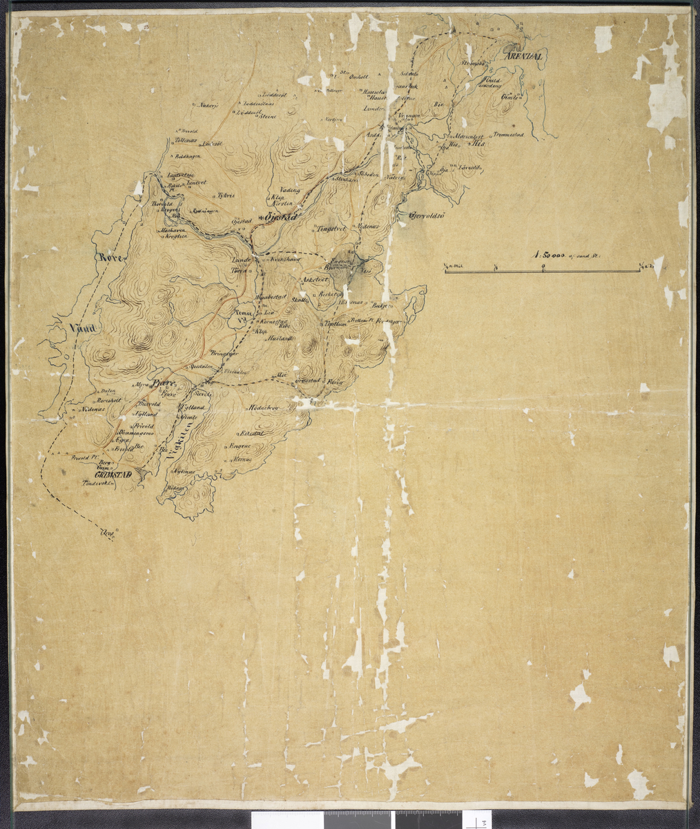 Kart over Fjære og Øyestad