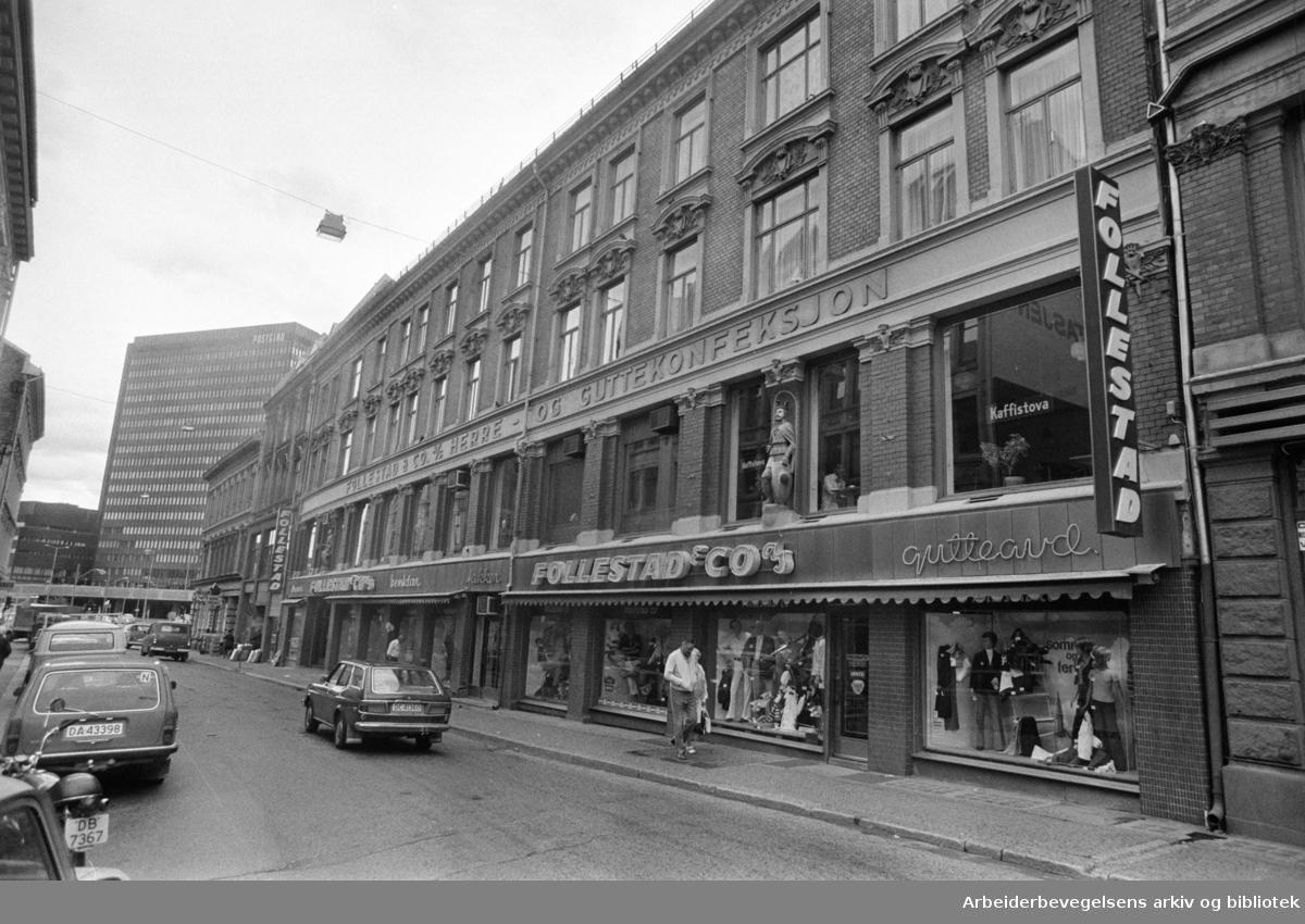 "Lybekkergata. ""Follestad-gården"". Juli 1977"