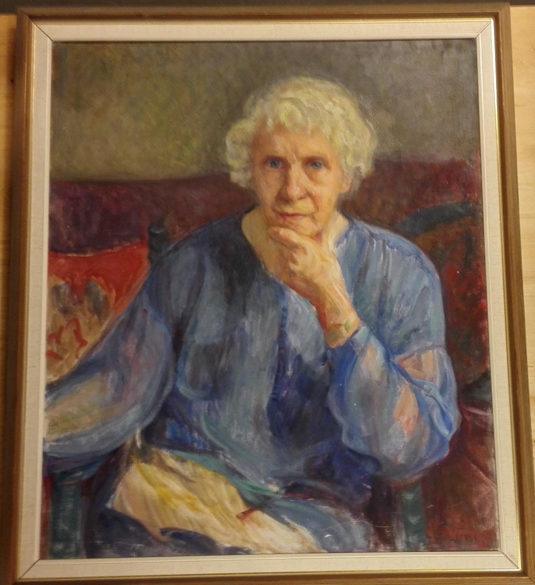 Portrett av kunstmål. Frida Rusti.