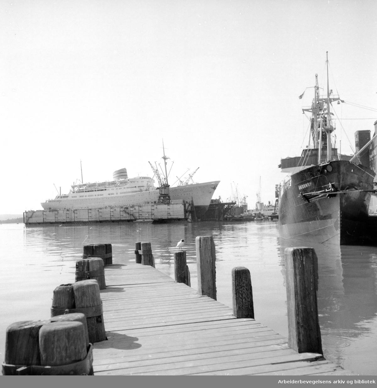 Havna. Stemning. April 1956