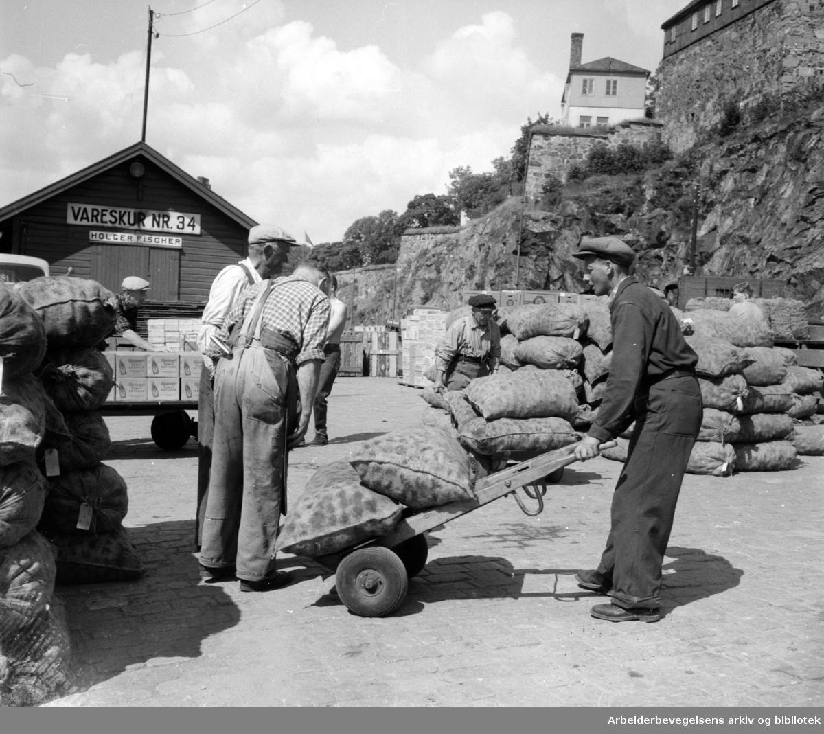 Havna. Bryggearbeidere, lasting og lossing. Lossing av bananer. Juli 1957.