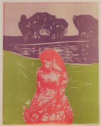 Kvinne i landskap [Grafikk]