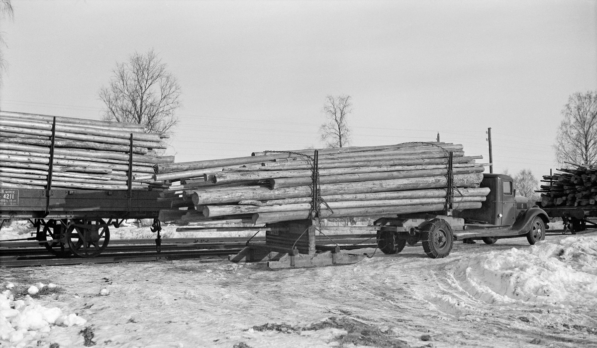 Tømmerkjøring, lastebil med geit, Mårud, Disenå 17/2-1939.
