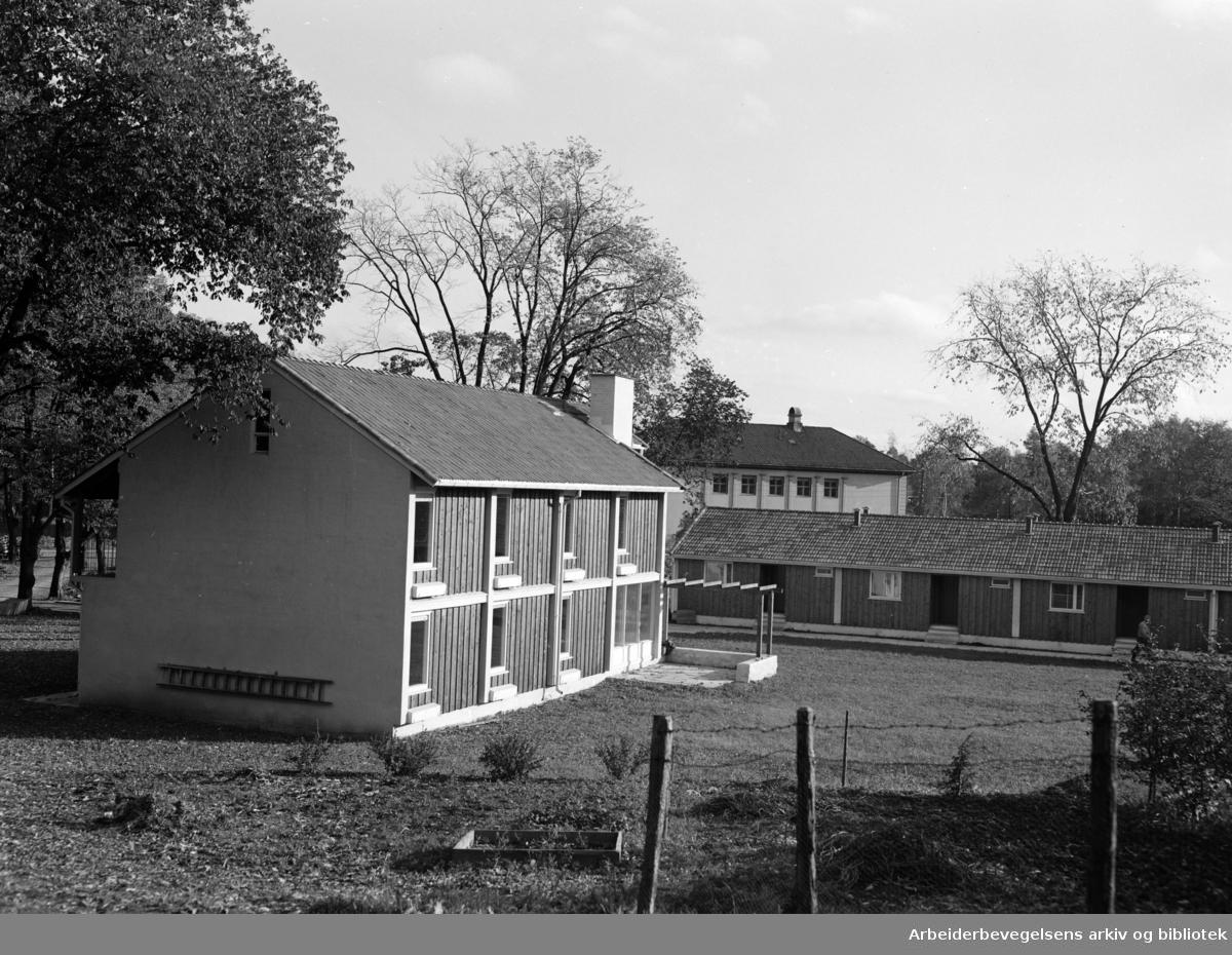 Bygdøy. Strømsborg. Trygdeboliger for stortingsrepresentanter. Oktober 1955