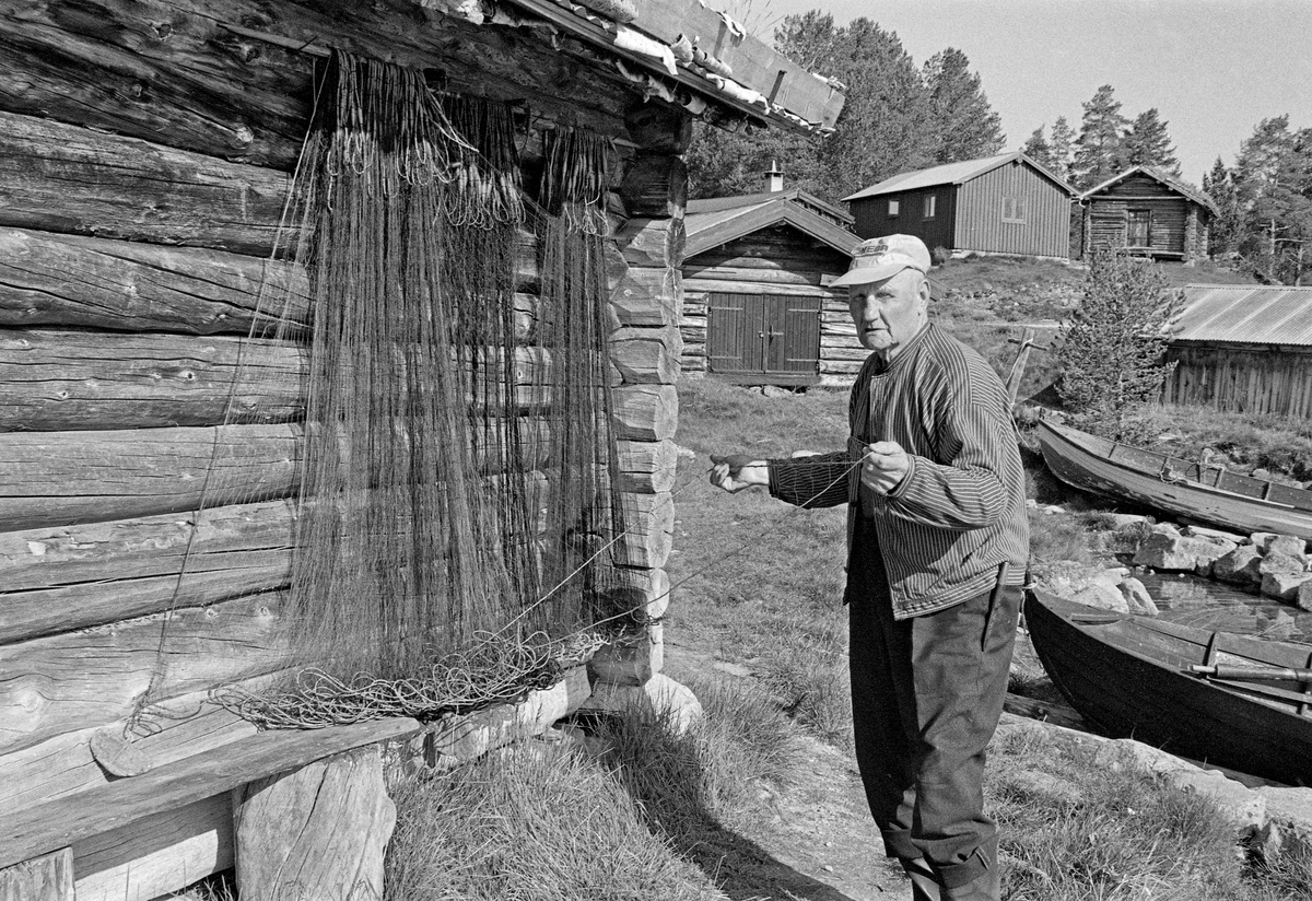 Haagen Hangaard (1899-1989), fotografert mens han greidde ut et fiskegarn på en naustvegg på Fiskevollen ved Sølensjøen i Øvre Rendalen i 1983.  Hangaard eide Enkjegarden eller Nord-Berge i hovedbygda tre mil lengre vest, og var dermed blant dem som hadde fiskerett i denne innsjøen.  I tiåra etter 2. verdenskrig ble han ofte omtalt som «Sølensjø-kongen», fordi han i denne perioden var den mest aktive av lotteierne i fisket.  Da dette fotografiet ble tatt var Hangaard om lag 84 år gammel, men fortsatt en ivrig fisker.  Han var kledd i vadmelsbukser og busserull, og hadde skyggelue på hodet.  Fotografiet viser noe av den gjenværende bebyggelsen på dette innlandsfiskeværet.  Sølensjøen ligger snaut 700 meter over havet og cirka tre mil øst for de gardene i Øvre Rendalen hovedbygd som ha har fiskerettigheter i sjøen.  Inntil det i perioden 1939-1941 ble bygd bilveg på denne strekningen, foregikk transporten til og fra sjøen med kløvhester på barmark og på sleder vinterstid.  Lange avstander og tidkrevende transportmetoder gjorde det nødvendig å etablere et bygningsmiljø ved sjøen for innkvartering av fiskere, oppbevaring av båter, redskaper og fisk.  Det viktigste fisket foregikk i den søndre delen av sjøen, men der lå fjellmassivet Sølen en barriere mot bygda.  Fra Fiskevollen ved den nordvestre delen av sjøen derimot, var det greit farbart terreng vestover mot bygda.  Fiskeværet lå i ei lun vik hvor fiskebåtene kunne ligge skjermet for vind, og hvor husene kunne plasseres noenlunde lunt til i terrenget.  Fiskerne bodde på Fiskevollen under sommerfisket.  Under høstfisket etter røye sør i sjøen bodde fiskerne i fire felleseide buer i nærheten av gytegrunnene.  Fiskefangstene ble imidlertid rodd opp til Fiskevollen, hvor de ble lagret inntil de kunne kjøres til bygds på sledeføre.  Det var tre bygningstyper på Fiskevollen: Naustene, som la nede i strandsonen, buene fiskerne bodde i og kjellene de oppbevarte fiskeutstyret i høyere oppe på strandbakken.  I nyere tid har e