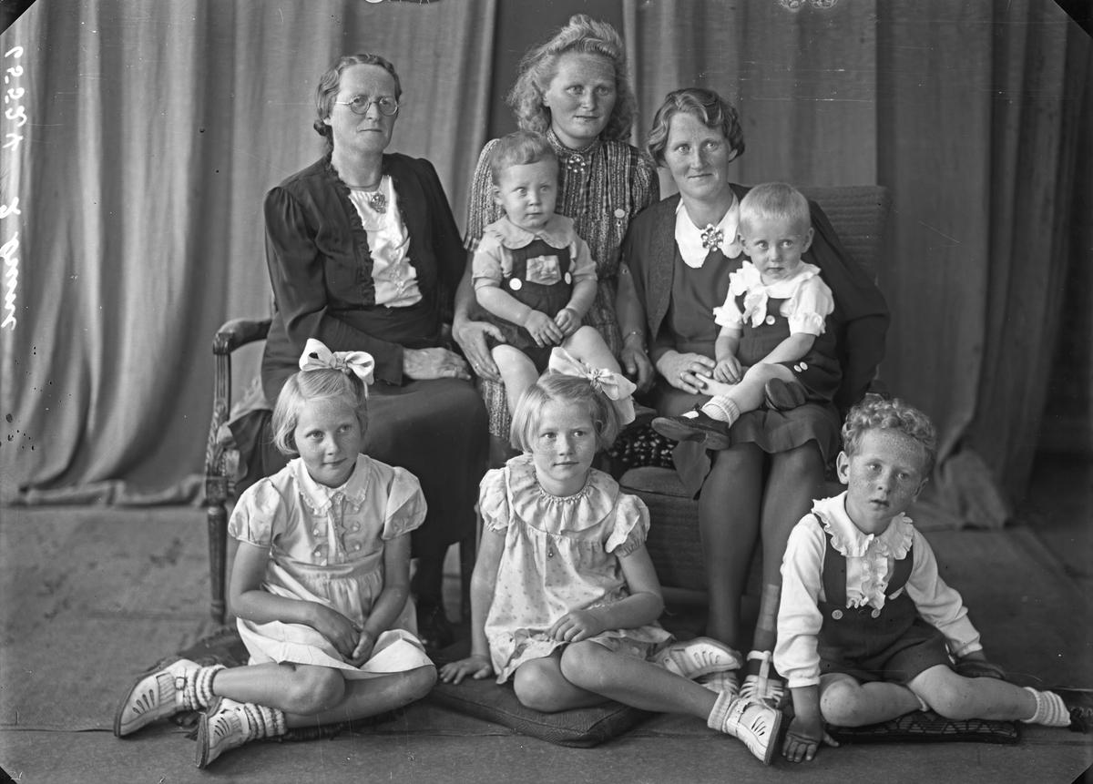 Gruppebilde. Familiegruppe på åtte. To kvinner, en ung kvinne, to piker, en gutt og to unge gutter. Bestilt av Jusefine Birkeland. Smørsund.