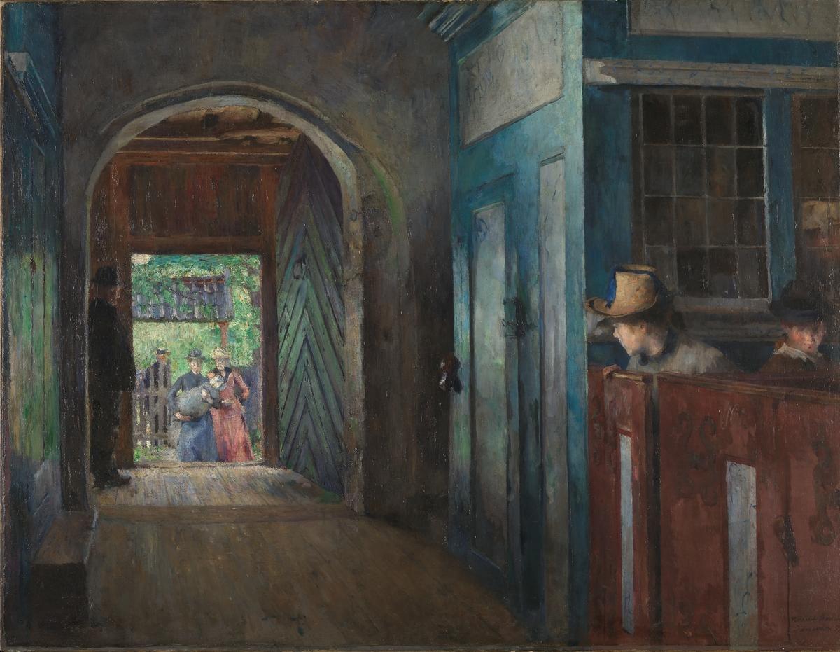 Barnedåp i Tanum kirke [Maleri]