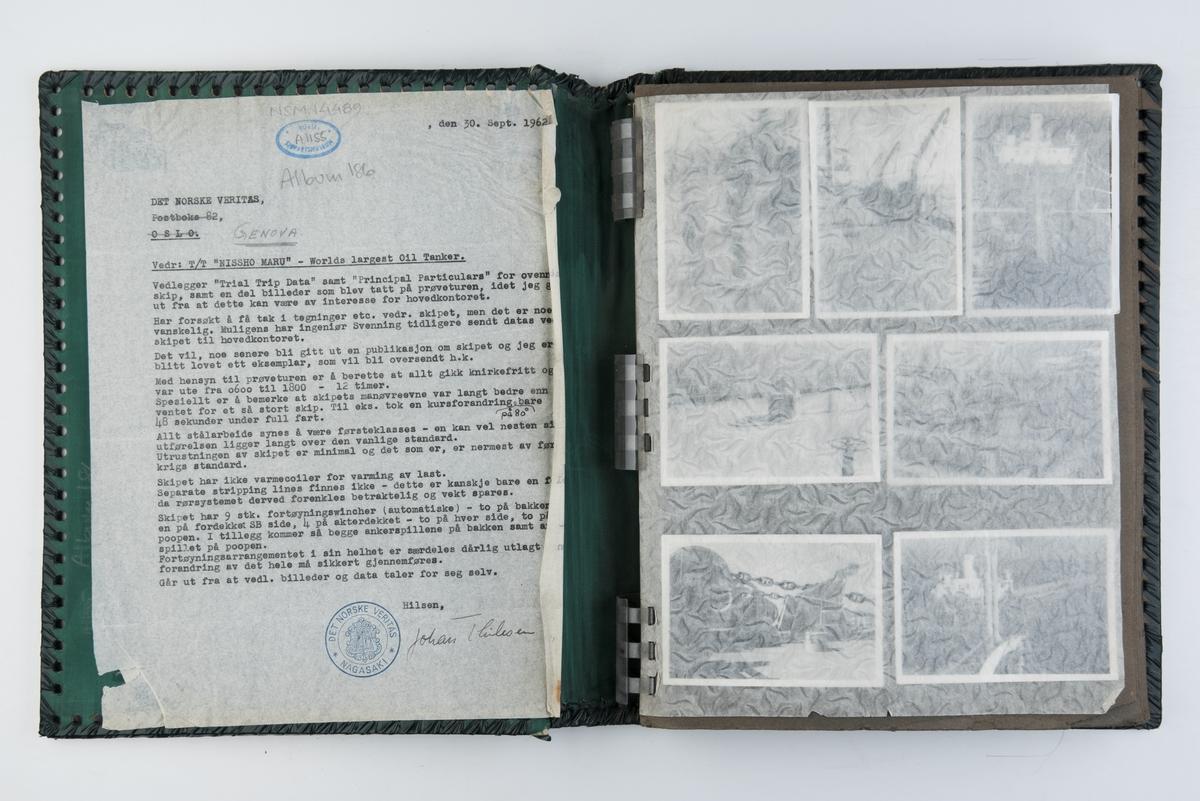 Album med fotografier fra prøveturen av T/T 'Nissho Maru' og fra byggingen av skipet