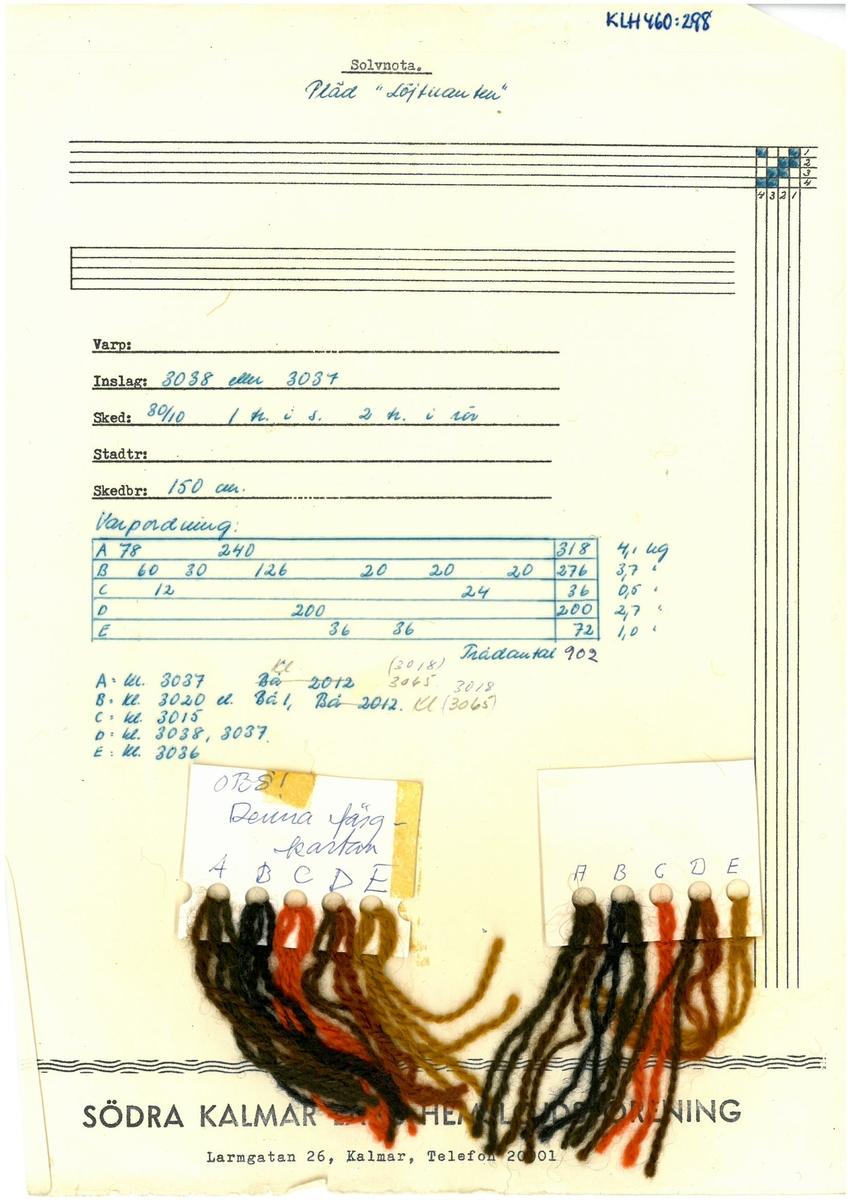 """Mönster, solvnotor och lindade randningar till halsdukar, plädar och sjalar. Kerstin Butler 1962 """"Pläd Löjtnanten"""""""