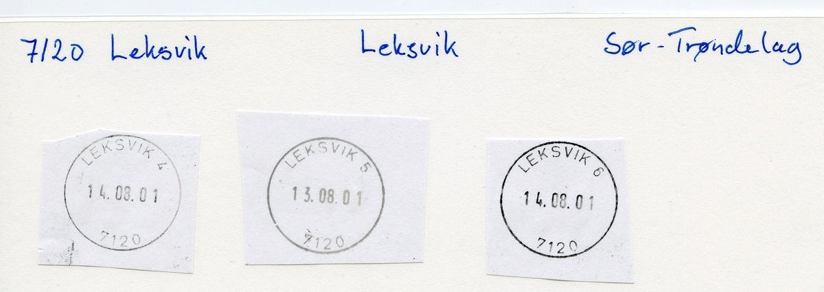 Stempelkatalog 7120 Leksvik (Leksvigen, Leksviken), Trondheim, Nord-Trøndelag
