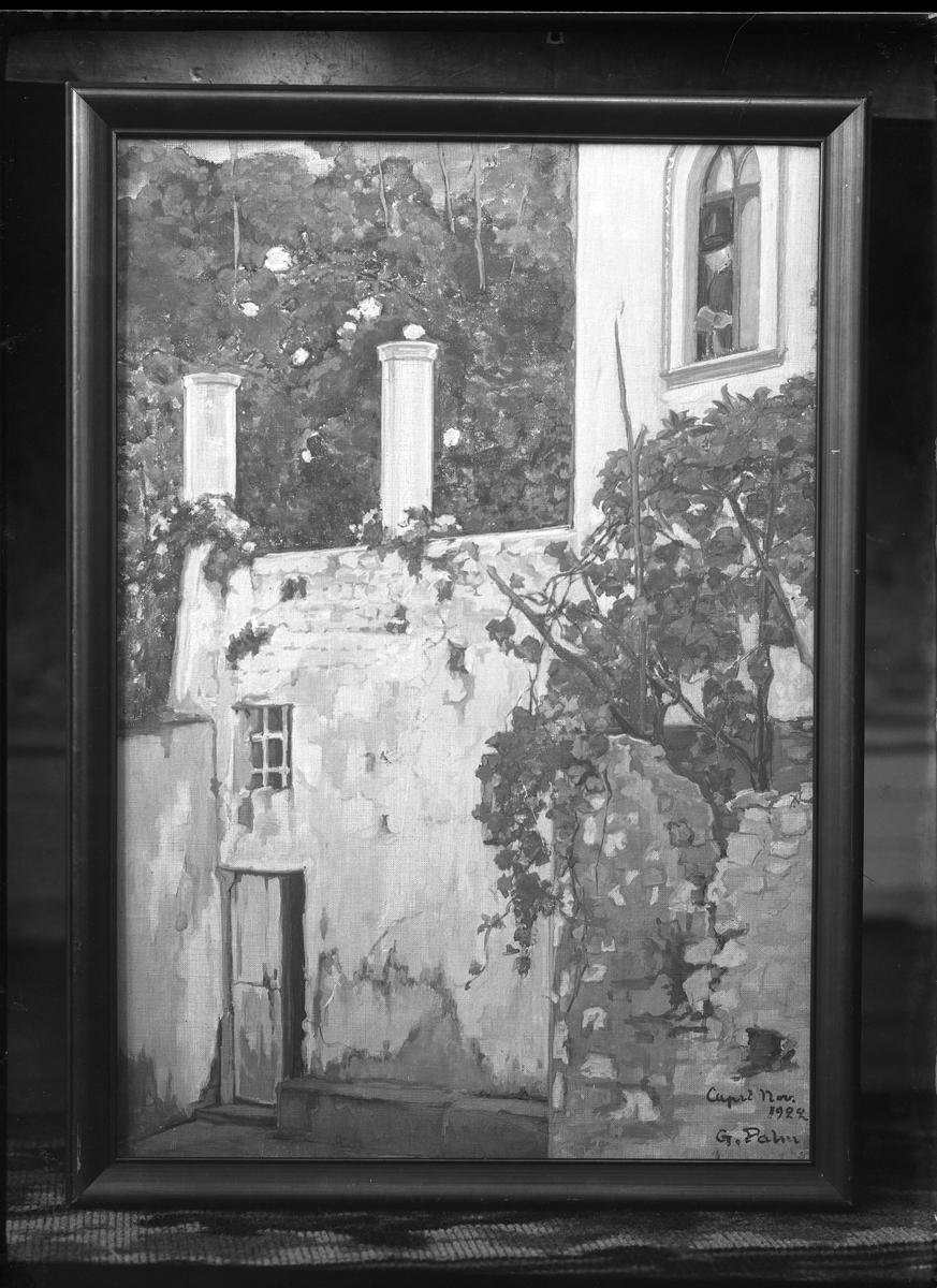 """Reprofotografi på målning av Gerda Palm. Målningen föreställer en exeriör och är signerad """"Capri nov 1922 G. Palm""""."""