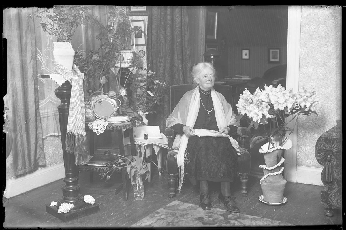 """En kvinna sitter i ett finrum omgiven av blommor och presenter i samband med en födelsedag. I fotografens anteckningar står det """"Fru Matheus"""", tolkad som Eda Amanda Fröling, gift med baptistpastor John Johansson Matheus. Stämmer det så är bilden troligen tagen i samband med hennes 65årsdag."""