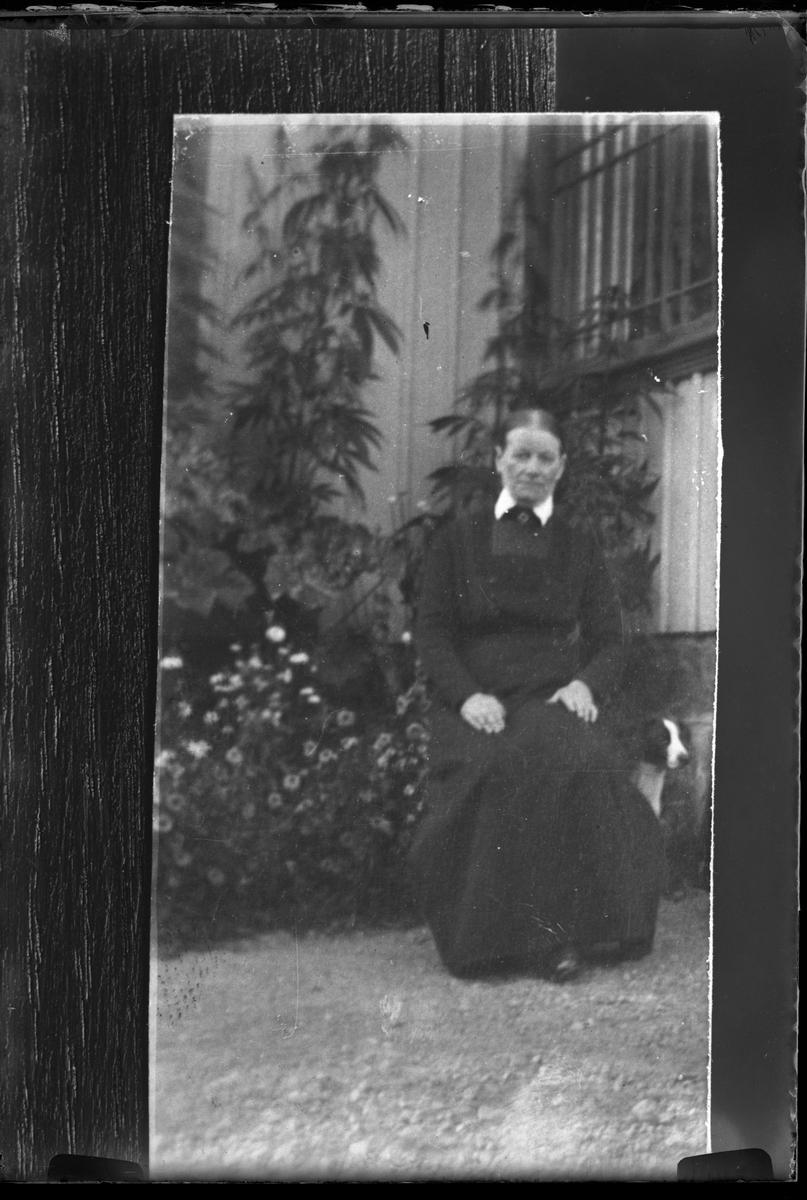 Reprofotografi av bild på en svartklädd kvinna som sitter utanför ett hus. Bakom henne syns en hund och en blomsterrabatt.