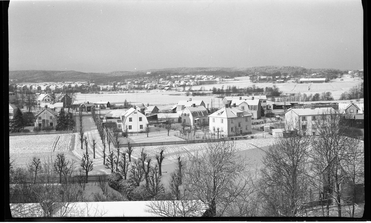 Utsikt mot norr från Häradsberget.  Ett tunt snötäcke ligger på marken.  Man ser några stora flerfamiljs- och enfamiljshus. Husen från olika tider, mestadels första hälften av 1900-talet.  Mot punkten där fotografen står leder en väg, kantad av hårt klippta pilträd. Det är en del av dåvarande Boråsvägen, idag Stålgatan.