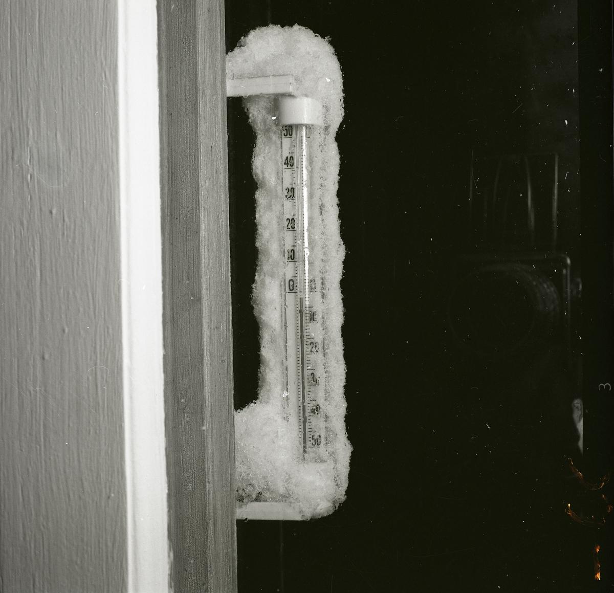 Översnöad utetermometer som visar några minusgrader, 1962.
