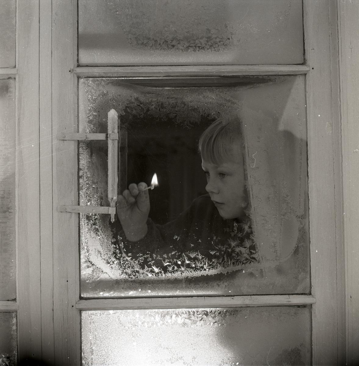 Innanför ett fönster tänder en pojke en tändsticka, för att bättre kunna se på utetermometern hur många grader det är. Fönstret är täckt med rimfrost, 4 januari 1953.