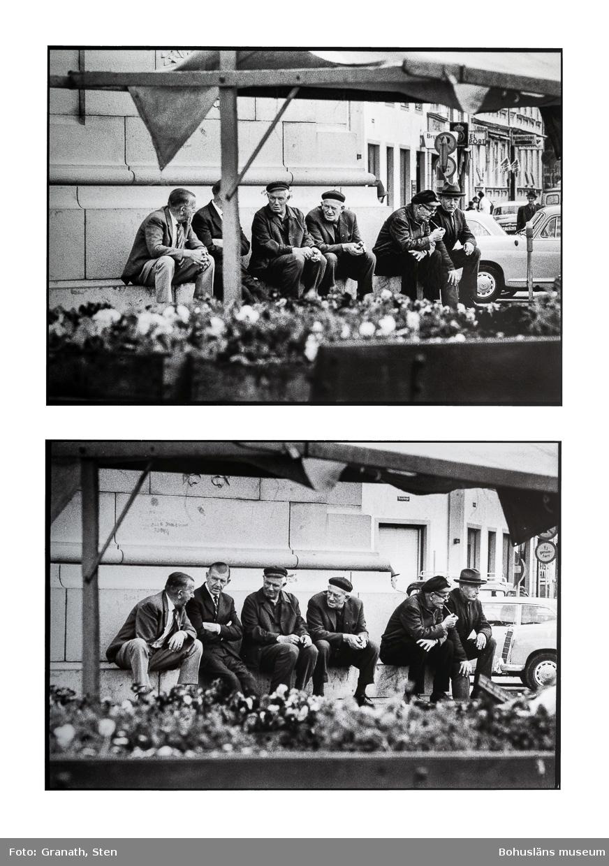 Montage av två fotografier tagna på Kungstorget i Uddevalla. I bilderna syns sex äldre män sitta på fundamentet till dubbelstatyn, fotografierna är tagna genom ett torgstånd vars tak syns i bildernas överkant. Längs nederkanten syns mängder med penséer, kanske hör dessa till torgståndet. Männen sitter och samtalar med varandra, minst tre röker(två cigarett, en pipa), tre är klädda i kostym och slips, en av dessa har hatt, av de övriga tre har två keps och en basker, även de har kavajer men av grövre tyg. Bakom dem syns bilar(en Mercedes), butiksskyltar(bland annat för Huqvarna och ett konditori), personer som går längs gatan och en parkeringsautomat. På statyns fundament finns klotter(text, oläslig).