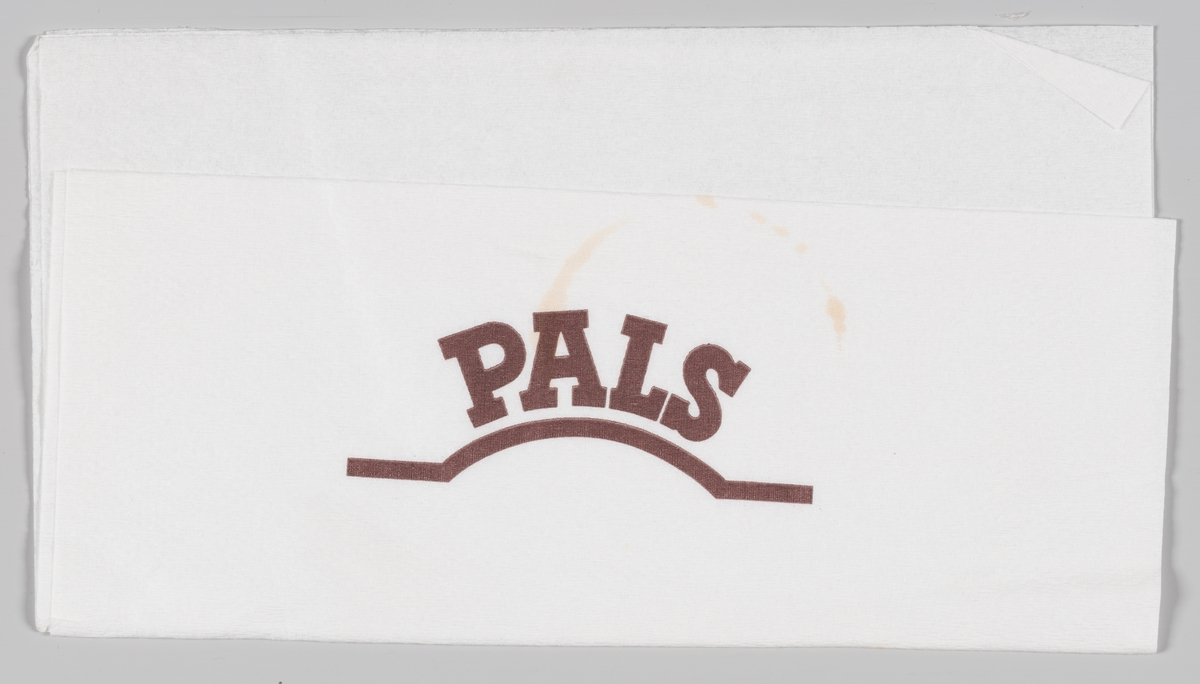 Reklametekst for Pals  Pals A/S holder til å Billingstadsletta i Asker og produserer kaffe og råvarer til bakerier og konditorier  Reklame for Pals på serviettene MIA.00007-004-0008 til MIA.00007-004-0010