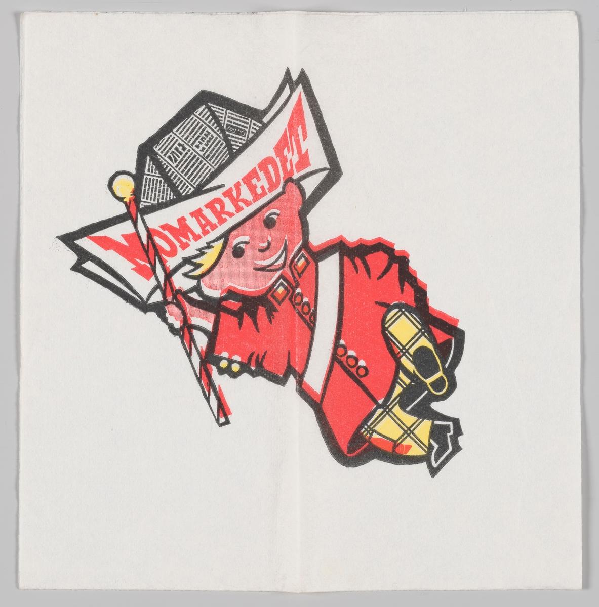 En gutt i uniform med en papirhatt med reklametekst for Momarkedet.  Momarkedet er en årlig festival på Momarked travbanen utenfor Mysen. Festivalen startet i 1950.
