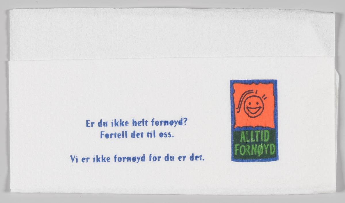 """En firkantet logo med en tegning av et smilende ansikt og reklameslogan """"Alltid fornøyd""""."""