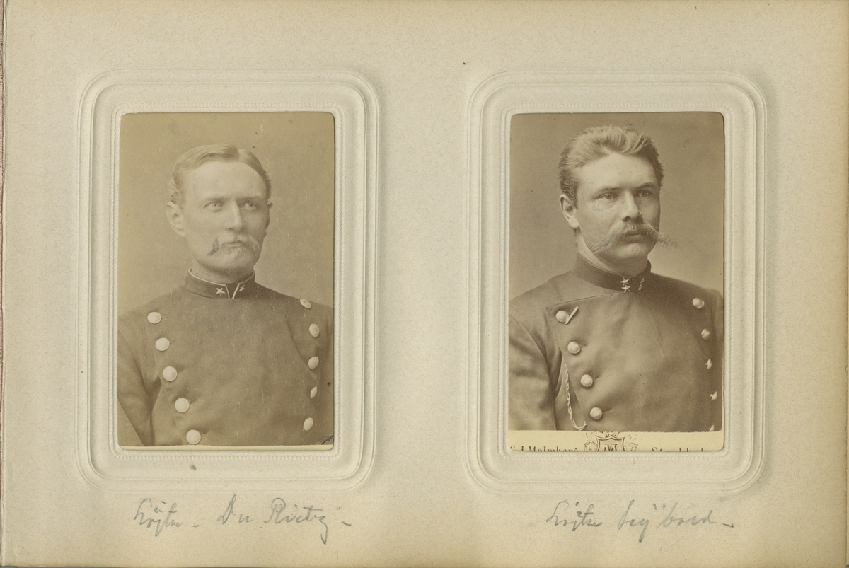 Porträtt av Emil Robert Seybold, löjtnant vid Södermanlands regemente I 10. Se även bild AMA.0021831.