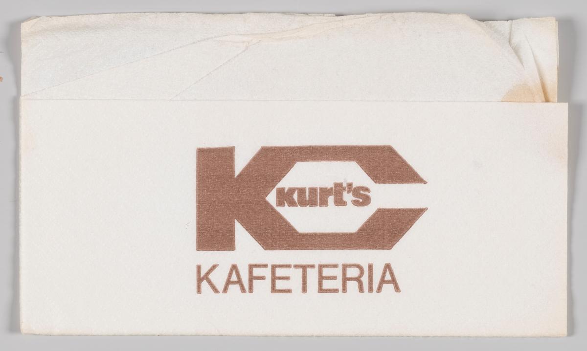 Et stort K og reklame for Kurt`s kafeteria.
